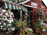 Farm Stand in Red Barn with Flowers  Long Island  New York  USA