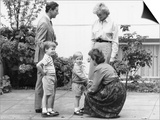 Prince Charles and Princess Diana with Prince William and Prince Harry  meet the headmistress as Ha