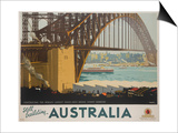 Australia  Constructing the Sydney Harbor Bridge Travel Poster