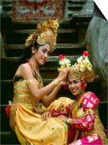 Balinese Dancers in Front of Temple in Ubud  Bali  Indonesia