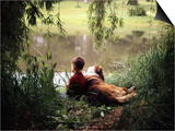 1960s-1970s Boy Fishing with His Dog by His Side