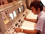 1970s Man Sitting at Control Panel of NASA Mission Control