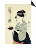 A Half-Length Portrait of Naniwaya Okita  Depicting the Famous Teahouse Waitress Serving a Cup of T
