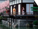 Mother and Daughter at Shobi-Kan Teahouse  Garden at Heian Shrine During Cherry Blossom Festival