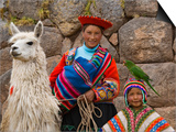 Woman with Llama  Boy  and Parrot  Sacsayhuaman Inca Ruins  Cusco  Peru
