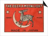 The Deer and Moonlight Matchbox Label