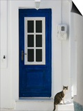 Village Door with Cat  Kokkari  Samos  Aegean Islands  Greece