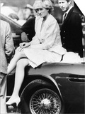 Princess Diana Sitting on Prince Charles Aston Martin Car at Smiths Lawn Windsor