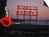 Neon Sign of Coffee Cup at Pike Place Market  Seattle  Washington  USA