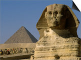 The Sphinx with 4th Dynasty Pharaoh Menkaure's Pyramid  Giza  Egypt