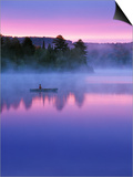 Canoeist on Lake at Sunrise  Algonquin Provincial Park  Ontario  Canada