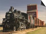 Steam Train and Grain Elevator in Western Development Museum  Saskatchewan  Canada