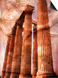Greek Columns and Greek Carvings of Women  Temple of Zeus  Athens  Greece