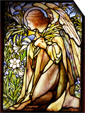 Tiffany Studios Stained Glass Window of a Kneeling Angel
