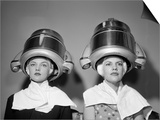 1950s Two Women under Hair Dryers Towels around Shoulders Hair Nets