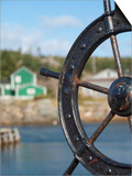 Fisherman's Point  Boat Wheel in Front of Harbor  Twillingate  Newfoundland and Labrador  Canada