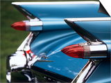 Detail Fins Rear Tail Lights Blue Cadillac Auomobile