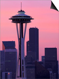 Dawn View of Space Needle and Downtown Seattle  Washington  USA