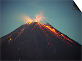 Arenal Volcano Erupting at Night  Costa Rica