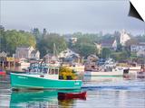 Boats in Morning Fog Corea  Maine  Usa