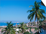 View of Downtown Puerto Vallarta and the Bay of Banderas  Mexico