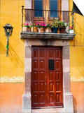 Carved Wooden Door and Balcony  San Miguel  Guanajuato State  Mexico