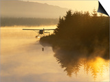 Float Plane on Beluga Lake at Dawn  Homer  Alaska  USA
