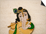 Mural Depicting Ganesha  a Hindu Deity  Inside City Palace  Udaipur  Rajasthan  India