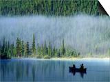 Boys Fishing on Waterfowl Lake  Banff National Park  Alberta  Canada