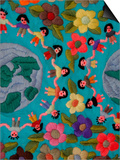 Textile with Children Holding Hands  Lake Atitlan  Western Highlands  Guatemala