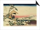 36 Views of Mount Fuji  no 24: Tea House at Koishikawa (The Morning after a Snowfall)