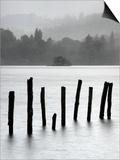Remains of Jetty in the Mist  Derwentwater  Cumbria  England  UK