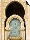 Casablanca a Visitor Is Dwarfed by the Towering Mosaic Tilework of the Hassan Ii Mosque  Morocco