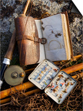 A Split-Cane Fly Rod and Traditional Fly-Fishing Equipment Beside a Trout Lake in North Wales  UK