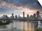 A Citycat Ferry Cruises Beneath Brisbane's Story Bridge Towards City Centre  Brisbane  Australia