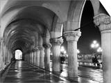 Columns of the Doge's Palace at Night  Venice  Veneto Region  Italy