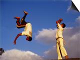Two Boys Practice Capoeira  the Brazilian Martial Art