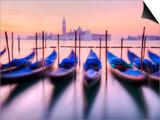 Moored Gondolas with San Giorgio Maggiore in the Background at Dawn  Venice  Veneto Region  Italy