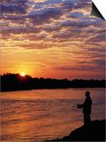 Zambezi National Park  Sausage Tree Camp  Fly-Fishing for Tiger Fish at Sunset on River  Zambia