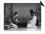 Korean Man and Woman Playing a Game Photograph - Korea
