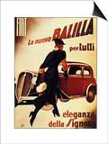 1930's Lady Running Towards Fiat Car  La Nuova Balilla per Tutti Eleganza Della Signora