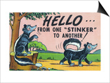 Comic Cartoon - Hello from One Stinker to Another; Two Skunks