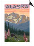 Alaska - Bear and Cubs Spring Flowers