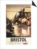 Bristol  England - Clifton Suspension Bridge and Boats British Rail Poster