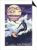 Huntington Beach  California - Night Surfer