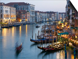 Outlook from Ponte Di Rialto Along Grand Canal at Dusk