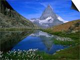Matterhorn and the Riffelsee  Valais  Switzerland