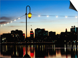 Lake Merritt with Lights at Sunset with City in Background  Oakland  California