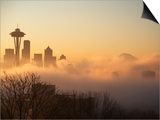 Morning Fog around Skyline with Sihouette of Space Needle and City Buildings