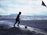 Boy Kicking Soccer Ball on Beach  Lake Nicaragua  Granada  Nicaragua